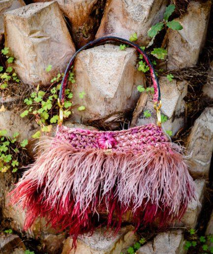 borsa-piume-bicolore-rosa