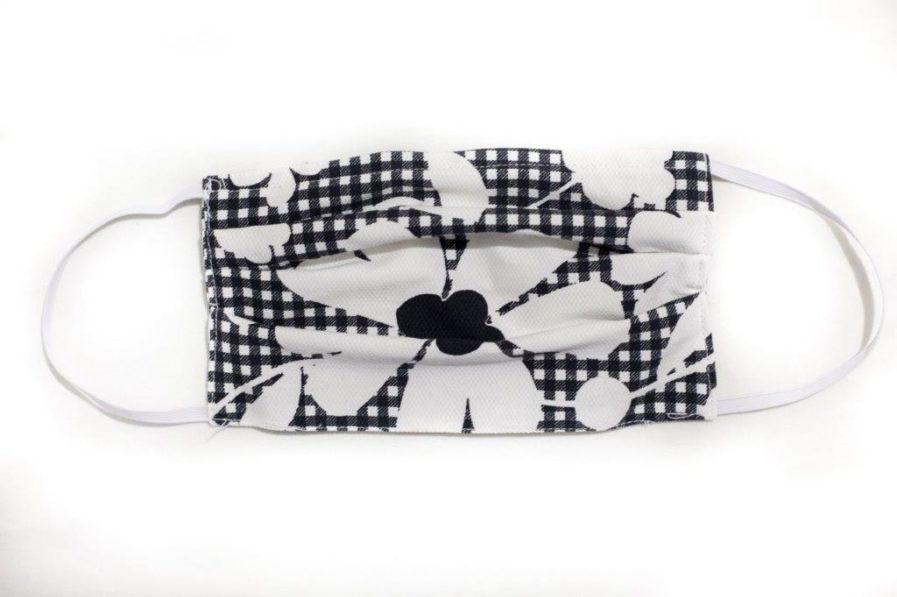 mascherina cover cotone fiore bianco nero