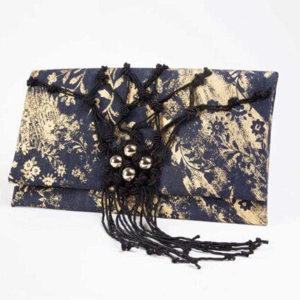 WUDAWU TRACOLLA JEANS ORO Borsa in tessuto jeans e disegni oro.